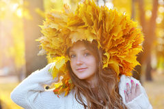 Young woman with autumn leaves in hand. And fall yellow maple garden background. Woman with wreath of yellow leaves on head. Autumn bright portrait stock image