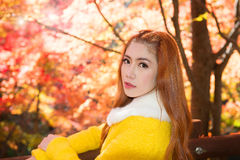 Young woman with autumn leaves in maple garden. Royalty Free Stock Images