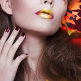 Young woman with autumn make. Young beautiful woman with autumn make up stock photography