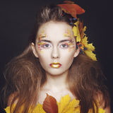 Young woman with autumn make up and leaves on head. Young beautiful woman with autumn make up and leaves on head royalty free stock photography