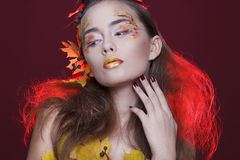 Young woman with autumn make up and leaves on head. Young beautiful woman with autumn make up and leaves on head royalty free stock image