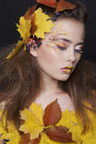 Young woman with autumn make up and leaves on head. Young beautiful woman with autumn make up and leaves on head royalty free stock photo