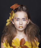 Young woman with autumn make up and leaves on head. Young beautiful woman with autumn make up and leaves on head stock image