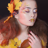 Young woman with autumn make up and leaves on head and her body. Young beautiful woman with autumn make up and leaves on head and body stock photo