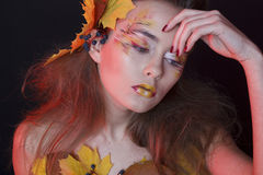 Young woman with autumn make up and leaves on head and her body. Young beautiful woman with autumn make up and leaves on head and body stock images