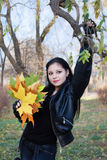 Young woman in autumn park. Glamour girl in autumn park royalty free stock image