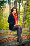 Young woman in autumn park. Portrait of young woman in autumn park Royalty Free Stock Photo