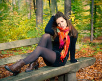 Young woman in autumn park. Portrait of young woman in autumn park Royalty Free Stock Photos