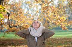 Young woman in autumn park. Beautiful young blond woman in autumn park stock image