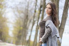 Young woman in the autumn park Stock Photography