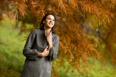 Young woman in the autumn park. Pertty young woman in the autumn park Stock Photography