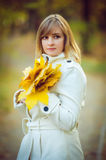 Young woman in an autumn park Stock Photography