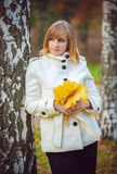 Young woman in an autumn park Royalty Free Stock Images