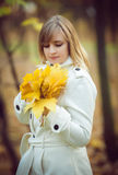 Young woman in an autumn park Stock Photos