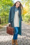 Young Woman in Autumn Season Attire at Pathway Royalty Free Stock Photos