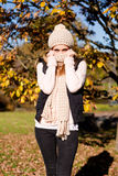 Young woman in autumn sunshine outdoor Royalty Free Stock Photography