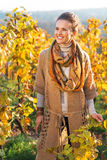 Young woman in autumn vineyard Royalty Free Stock Image
