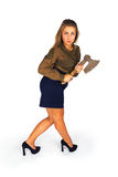 Young woman with ax Royalty Free Stock Photography