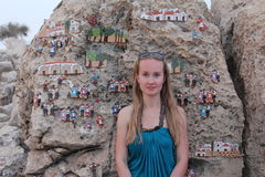 Young woman in the Ayia Napa International Sculpture Park. Royalty Free Stock Photos