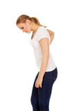 Young woman with back ache Stock Image