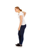 Young woman with back ache Royalty Free Stock Image