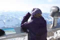 Young woman from the back. Observation platform on the Kaprun, Austria. Royalty Free Stock Photography
