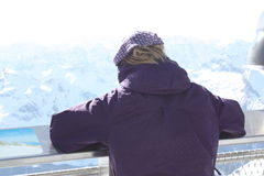 Young woman from the back. Observation platform on the Kaprun, Austria. Royalty Free Stock Images