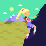 Young woman with backback climbing on the rock. Flat style. Layered illustration. Can be used for motion design or another design project Royalty Free Stock Photography