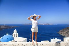 Young woman in background of blue famouse dome Royalty Free Stock Images