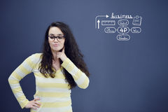 Young woman with background with drawn business chart, arrow and icons. Successful business concept Stock Photography