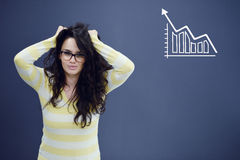 Young woman with background with drawn business chart, arrow and icons. Successful business concept Royalty Free Stock Photography