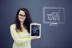 Young woman with background with drawn business chart, arrow and icons. Successful business concept Royalty Free Stock Photo