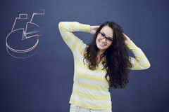 Young woman with background with drawn business chart, arrow and icons. Successful business concept Stock Photos