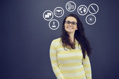 Young woman with background with drawn business chart, arrow and icons. Successful business concept Stock Photo
