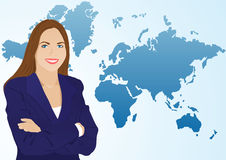 The young woman on a background of a map Stock Image