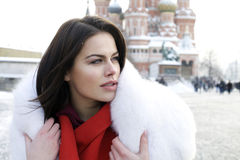 Young woman on the background of a winter city Stock Images