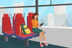 Young woman with backpack browsing tablet in the public vehicle or train vector illustration. Royalty Free Stock Images