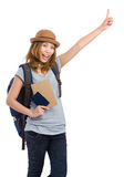 Young woman with backpack finger pointing up Stock Images