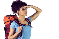 Young woman with backpack looking away Stock Photos