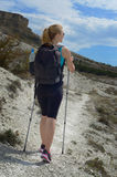 Young woman with backpack in mountains Royalty Free Stock Photos