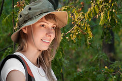 Young woman backpacker Royalty Free Stock Photo