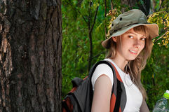 Young woman backpacker Royalty Free Stock Photography