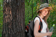 Young woman backpacker Royalty Free Stock Photos