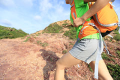 Young woman backpacker climbing Royalty Free Stock Photography