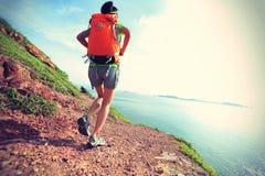 Young woman backpacker walking on  seaside mountain Royalty Free Stock Image