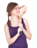 Young woman with badminton rackets Royalty Free Stock Image