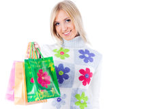 Young woman with bag Stock Photo