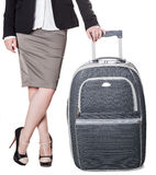 Young woman with baggage Stock Images
