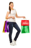 Young woman with bags Stock Photo