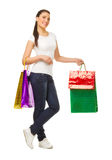 Young woman with bags Stock Images